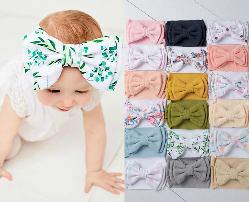Big Bow Baby Headband No Tie Baby Headwraps Big Bow Head image 0