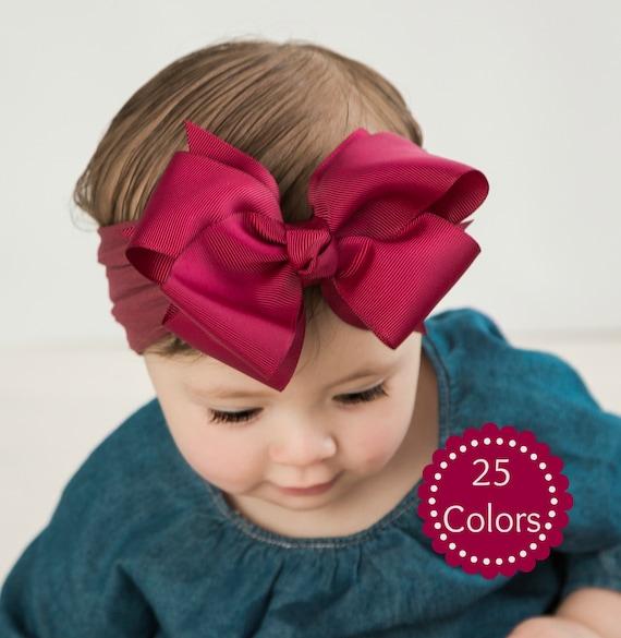 Messy Bow Baby Girl Headband Newborn Baby Bows Soft Nylon Headbands Infant Headwrap
