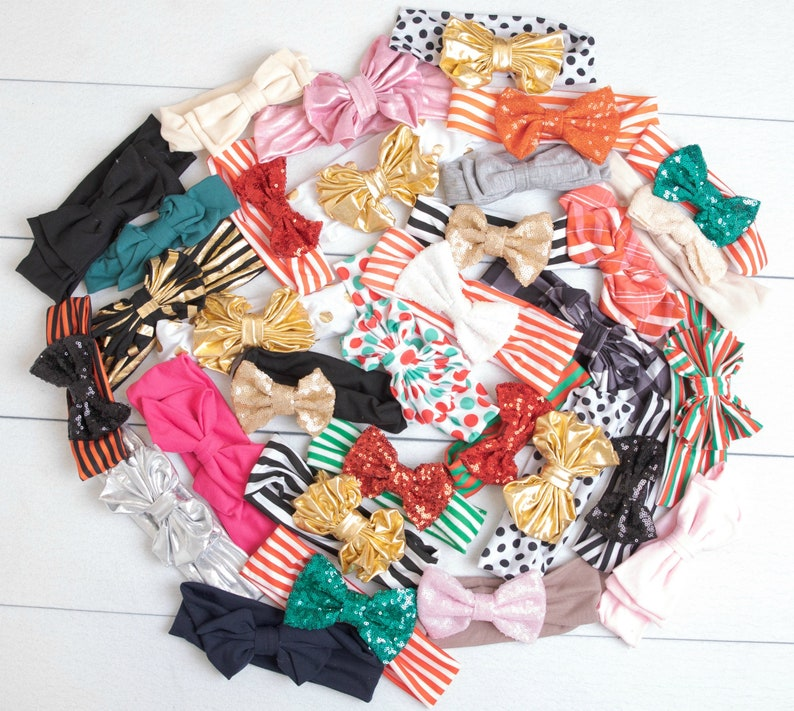 SALE 5 or 10 Headbands GRAB a BAG Baby Headbands Messy Bow image 0
