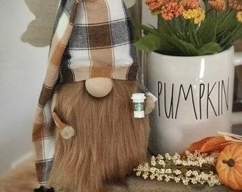 Holiday gnome, Fall gnome, autumn gnome, pumpkin gnome, tomte, nisse, plaid gnome, gnomes, coffee gnome, farmhouse gnome, tiered tray deco