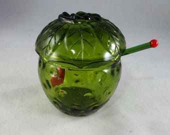 Green Glass Strawberry Sugar Bowl and Spoon, Strawberry Sugar Bowl with Lid, Retro Sugar Bowl Set