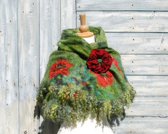 Felted scarf felted collar felted cape wool neck warmers Red Poppy Felted flower red green wool scarf felt brooch felted flower scarf