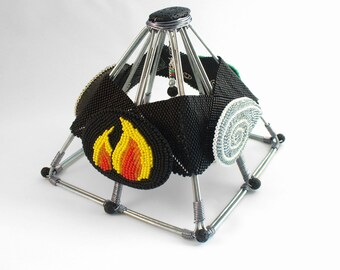 Four Elements Altar - Water Fire Air Earth Brooch Set - Wire Pyramid Sculpture - Modern Pagan Decor - Beadwork Jewelry - Bead Art Jewelry