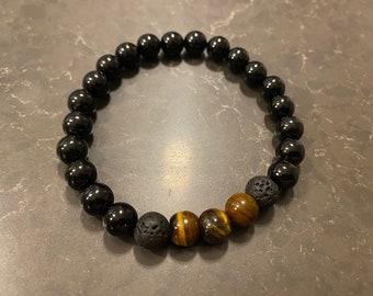 Tiger's Eye, Lava & Onyx Gemstone Bracelet | chakra | energy | natural | handmade | peace | gift | mala | unisex | gender-neutral