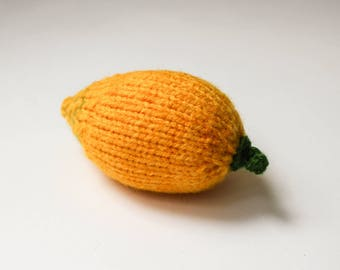 Soft toy lemon gift for foodie - knitted fruits Waldorf toy yellow lemon - play food stuffed toy for toddlers busy bag toy doll food citrus
