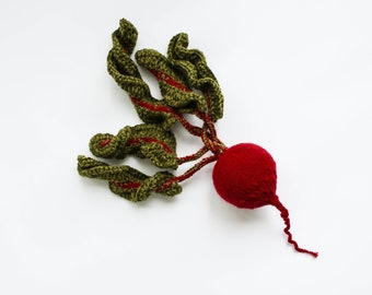 Pretend play beetroot - vegetables toy food - Baby soft toys red beet - green oxblood knitted toy - Waldorf gift for girl - Birthday gift