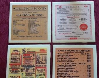 Vintage Diner Menu Coasters