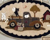 Vintage Truck Wool Table Mat - Wool Applique Patterns - Old Truck Cats and Dogs BMB 1332