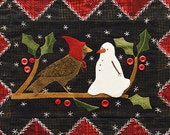 Winter Bird and Snowman Wool Table Mat - Wool Applique Patterns - Winter Decor - Jan. ATN 1321