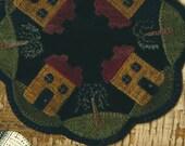 Wool Applique Pattern - Primitive Salt Box House - Penny Rug - Wool Table Mat - BMB 39
