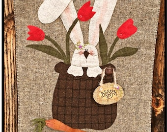 Rabbit in Basket with Flowers Wool Applique Pattern #WW 008 Blossom - Spring and Summer Decor