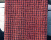 Felted Wool Fabric - 13.5 quot x 16 quot - Hand Dyed Wool Fabric - Geranium Houndstooth - Applique or Rug Hooking Wool