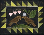 February Birds and Hearts Wool Table Mat - Wool Applique Patterns - Spring Decor - Feb ATN 1322