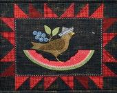 Summer Bird Wool Table Mat - Wool Applique Patterns - Summer Decor - July ATN 1327 Bertie 39 s Year