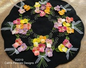 Bouquet of Pansies Wool Applique Pattern - CPD 201 - Pansy Bouquet Candle Mat Pattern - Spring Decor - Applique Patterns