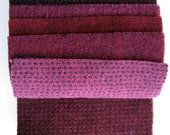 Hand Dyed Wool Fabric in Red Grape, wine, fuchsia, and burgundy 5 quot x 5 quot Wool Charm Pack of 10