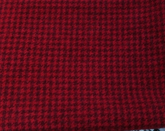 f64f06ede Hand Dyed Felted 100% Wool Fabric - Red Houndstooth 8