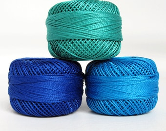 Perle Cotton Thread Set - Size 8 Finca Pearl Cotton by Presencia - Royal Blue - Blue - Seagreen - Moon Glow 1 - Each one is approx 77 yards