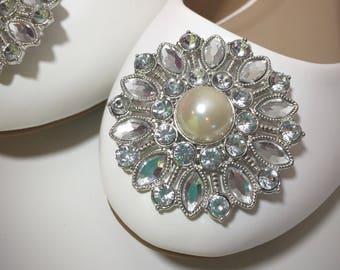 Rhinestone and Pearl Embellished White Wedding Flats