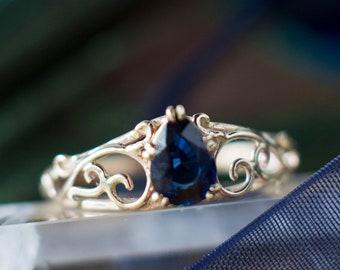 Pear Peacock Blue Sapphire Ring, Elvish Engagement Ring, Gold Filigree  Scrollwork Swirly Vintage Victorian Inspired b0879b5fadaf