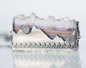 Fullmoon over the mountains - Amethyst Slice and Moonstone Necklace Sterling Silver