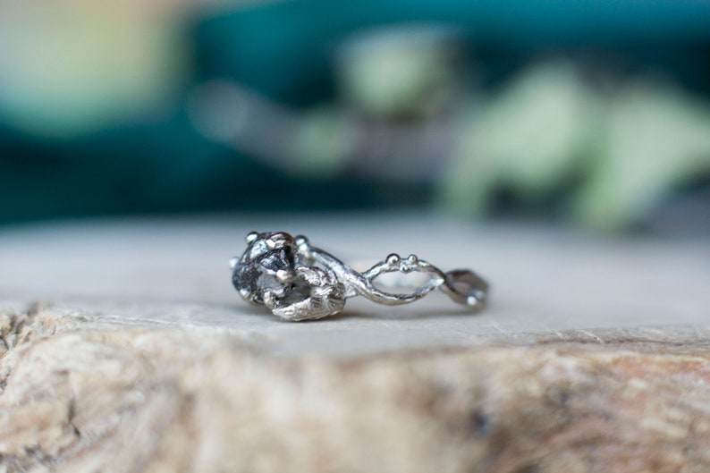 75f0fe980f9ba Meteorite Ring with Sterling Silver and Campo del Cielo - Swirly Elvish  Engagement Ring Twig and Leaf Entwined Braided