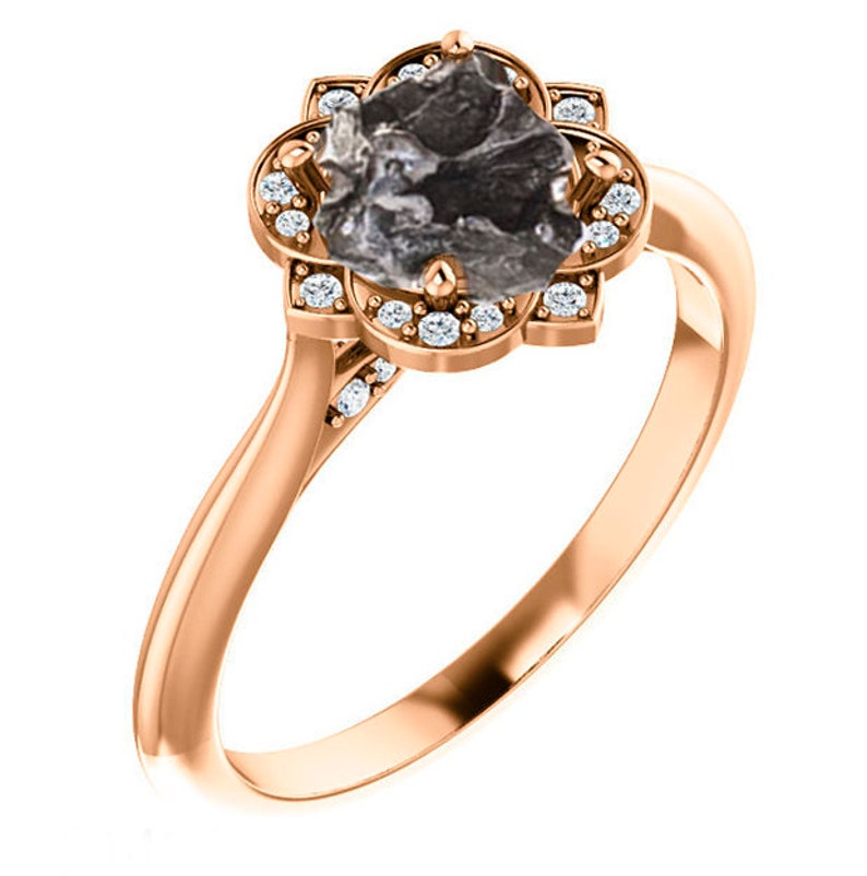 6b8c4760ae5c9 Meteorite Ring Campo del Cielo Moissanite Halo Yellow Rose or White 14k  Gold - Meteorite Engagement Ring Accent Art Deco Vintage Millgrain