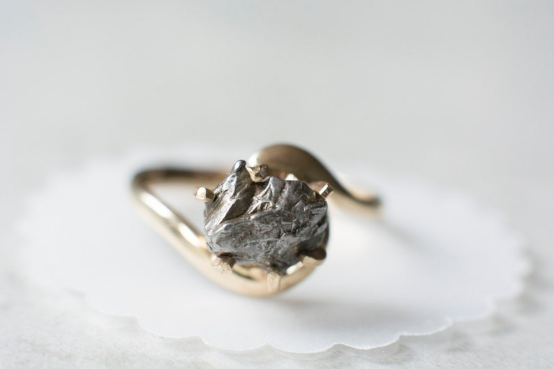 43d1434b52bec Meteorite Ring with 14K Gold and Campo del Cielo Meteorite - Engagement Ring