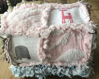 Ragged Baby Blanket, vintage chenille baby blanket, Denim Baby Blanket, vintage chenille, personalized baby Blanket, pink baby blanket,
