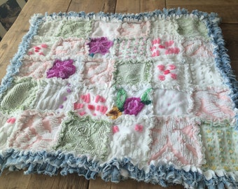 Quilt, VINTAGE, CHENILLE, RAGGED, Baby Blanket in Beautiful Pinks and Soft Greens with Distressed Denim