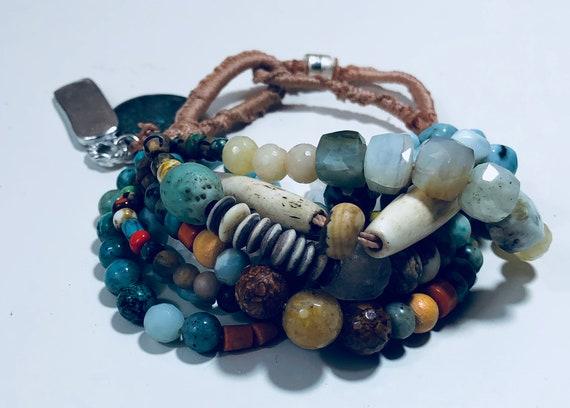 Boho Bracelet, Green African Glass, Brass African Beads, Silk rope, Beaded Bracelet, Beachy bracelet, Turquoise bracelet, Moonstone Bracelet