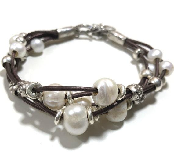 Pearl Bracelet, Leather Bracelet, Sterling silver, Boho, Sterling silver Bracelet, Brown Leather, Freshwater Pearls