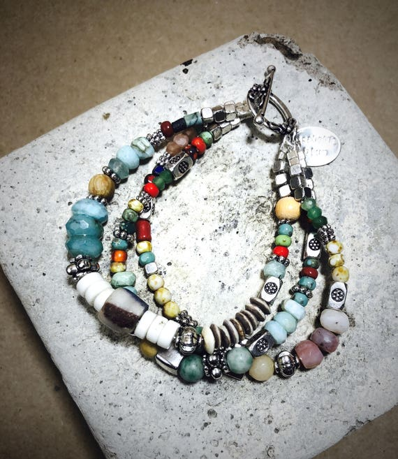 Bohemian Bracelet, Boho Bracelet, Beachy Bracelet, Multi strand, Sterling silver, Picasso Circus Beads, Colorful bracelet