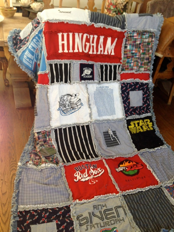 CUSTOM, HANDMADE, RAGGED, T-Shirt Blanket, T-Shirt Quilt, Made Entirely from Pajamas