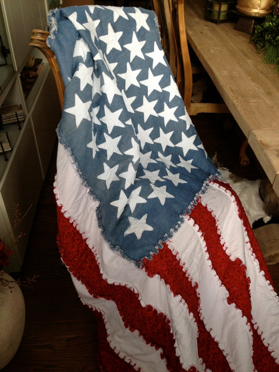 Gorgeous American Flag Ragged Quilt made from distressed blue jean materials