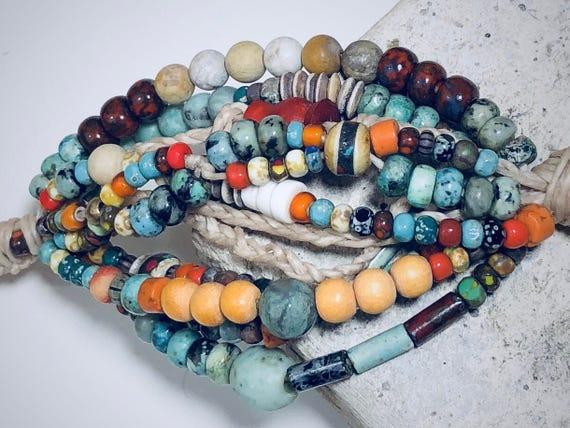 Boho, Hippie, Beaded Bracelet, Waxed Linen, Picasso Circus Beads,