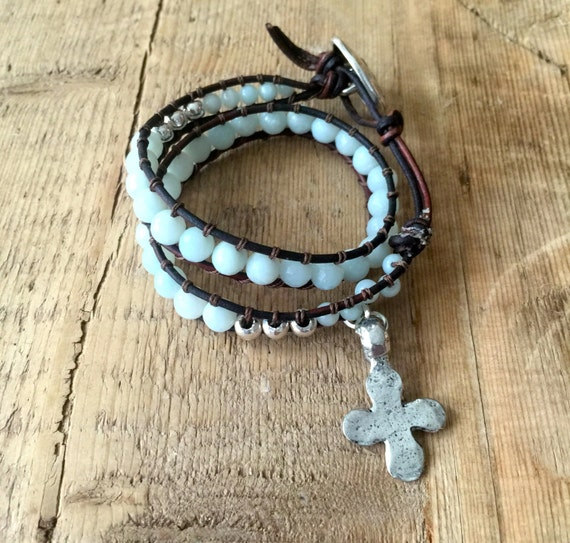 Bohemian, Beachy, Boho, Pale Blue Amazonite, Leather, Sterling Silver, Wrap Bracelet