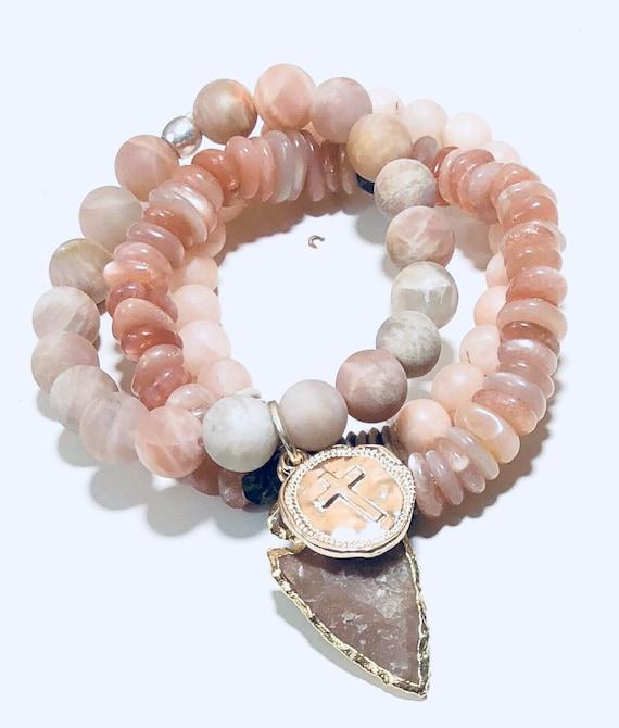 Boho bracelet, Bracelet Set, Peach Bracelet, Sterling Silver, Peach Agate, Silver Arrowhead, Stacking Bracelets