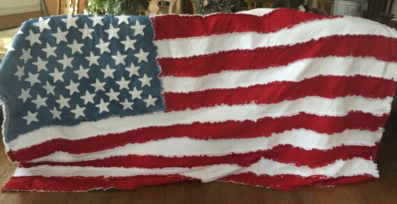 American Flag Blanket,Chicago Flag Blanket, American Flag Quilt, Chicago Flag Quilt, Ragged Blanket, Hand Made