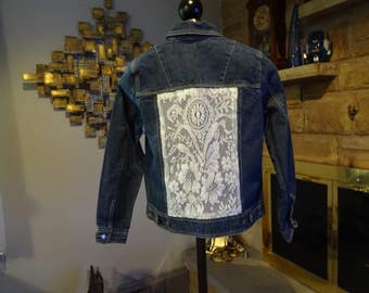 Women's Pumped Up Jean Jacket with Lace Inserts size Small
