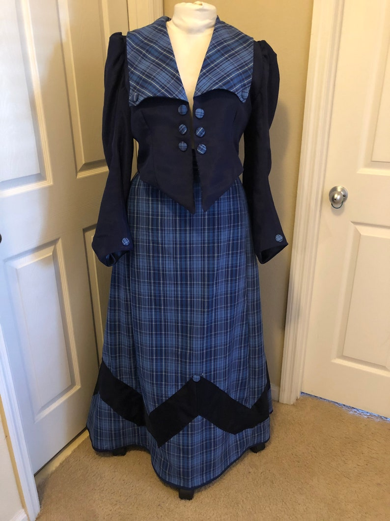 Old Fashioned Dresses | Old Dress Styles Custom 3 Piece Edwardian Skirt Shirt and Jacket - Edwardian Costume - Victorian Dress - Reenacting Clothing - Historical Costume $575.00 AT vintagedancer.com
