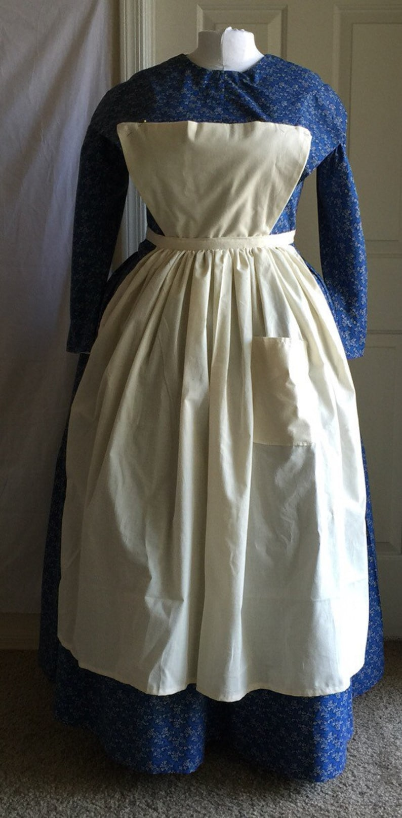 Vintage Aprons, Retro Aprons, Old Fashioned Aprons & Patterns Victorian Wild West Pinned Apron Pinafore Civil War Southern Belle Housemaid Downton Abby Scullery Maid Reenact $30.00 AT vintagedancer.com