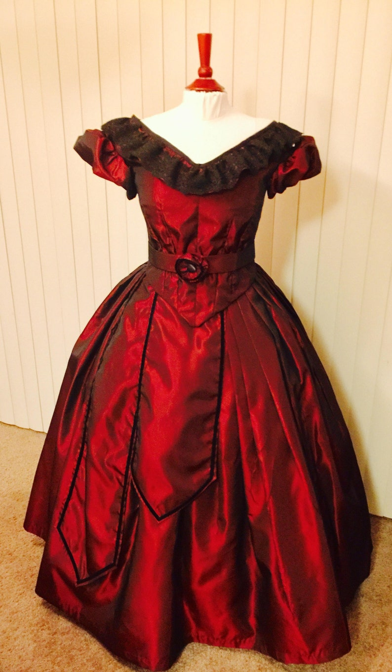 1840-1850s Dickens Victorian Costuming for Women Custom Victorian 7-Piece Ensemble ball gown victorian dress civil war ball gown costume southern belle reenactment Dickens $699.99 AT vintagedancer.com