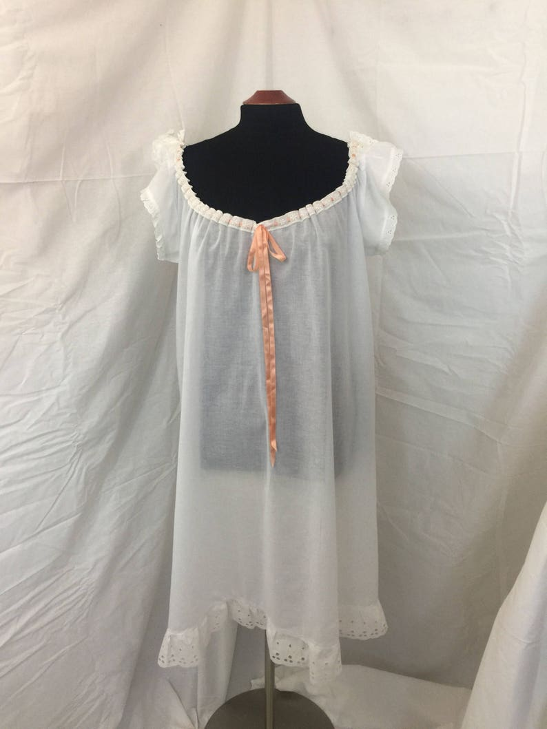 Retro Lingerie, Vintage Lingerie, 1940s-1970s Victorian Voile Cotton Chemise w/Beading Cotton Trim and Insertion Ribbon $85.00 AT vintagedancer.com