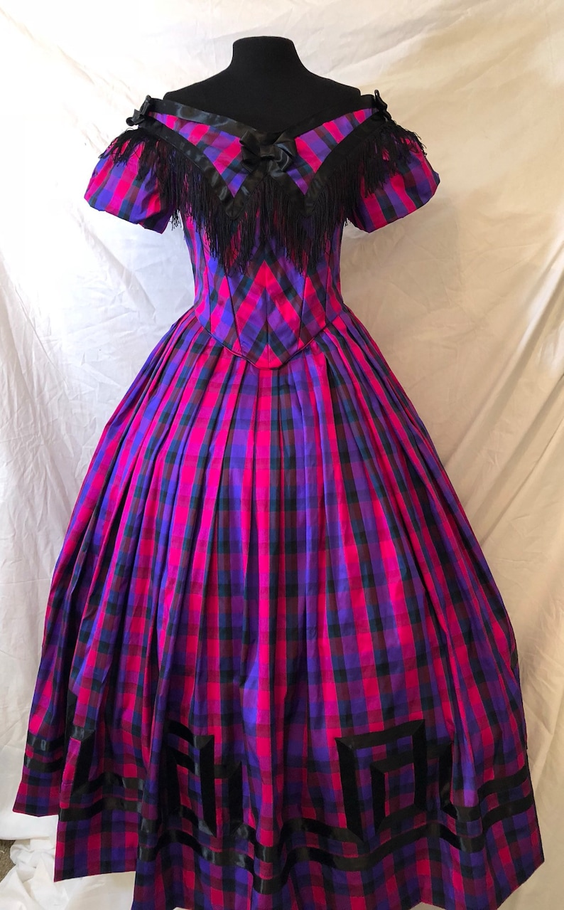 Victorian Dresses | Victorian Ballgowns | Victorian Clothing 1860s 100% Silk Taffeta Ballgown 2 Piece -Custom Made- Fabric Options Provided- Dickens $700.00 AT vintagedancer.com