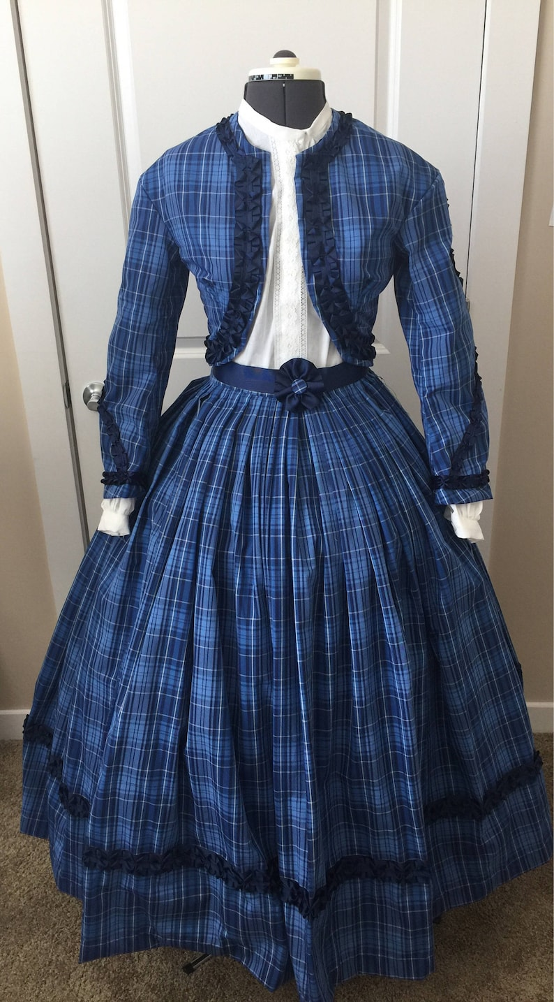 1840-1850s Dickens Victorian Costuming for Women Custom 4 Piece Civil War High Fashion Outfit - Southern Belle Costume - Reenacting Clothing - Historical Dress - Victorian Dress - Dickens $600.00 AT vintagedancer.com