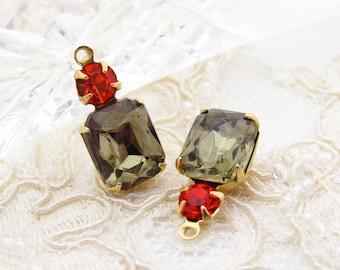 a5312d4ec Vintage Black Diamond Octagon & Hyacinth Swarovski Rhinestone Set Stone  Drops Antiqued Silver or Brass Earring Setting Dangles 18x8mm - 2