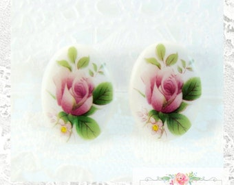Vintage Rosaline MATTE Flower Beads Light Pink Large Flat Daisies Glass Flowers 15x4mm Glass Daisies Spring Flowers Floral Jewelry Crafts 10