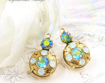 1d529ad09 Ornate Art Deco Chrysolite Opal & Vintage AB Chrysolite Swarovski Rhinestone  Raw Brass, Silver or Brass Ox Earring Dangles 18x11mm Drops - 2