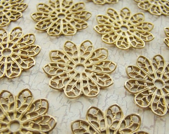 20mm Raw Brass Lace Flower Filigree Setting Connector Wrap - 6